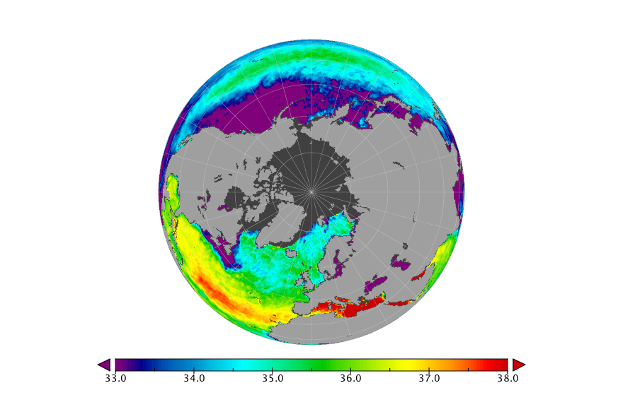 Sea surface salinity, December 2015