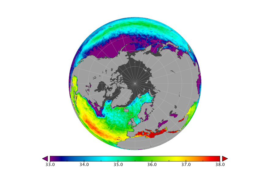 Sea surface salinity, January 2016