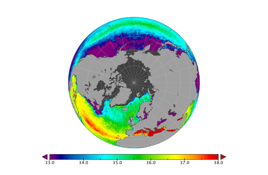 Sea surface salinity, April 2016
