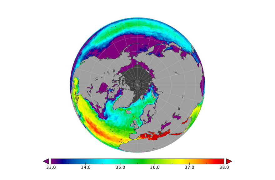 Sea surface salinity, October 2016