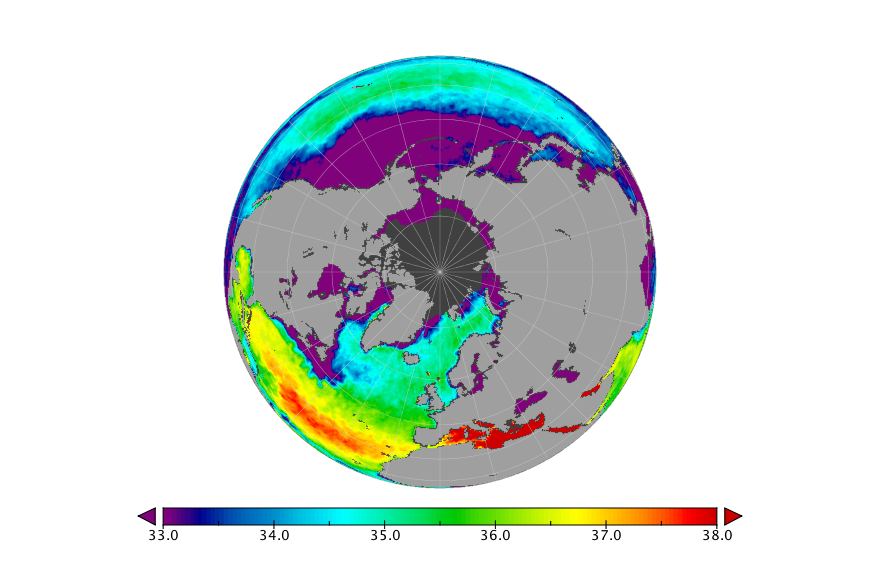 Sea surface salinity, October 2017