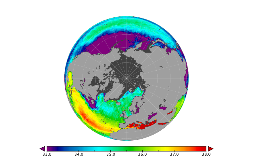 Sea surface salinity, January 2018