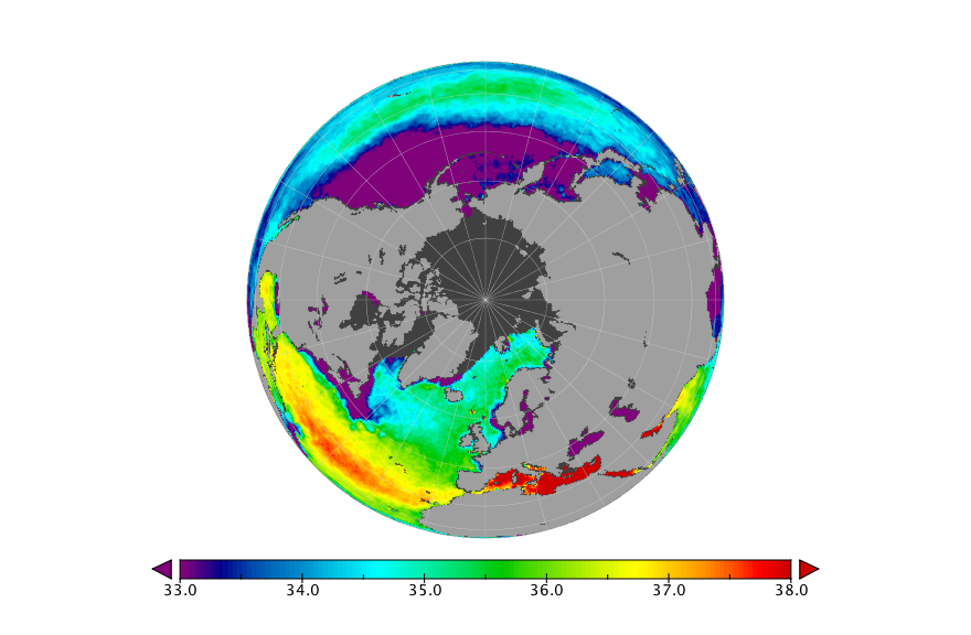 Sea surface salinity, June 2018
