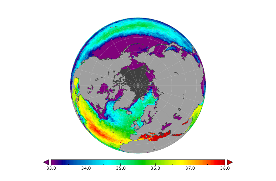 Sea surface salinity, September 2018