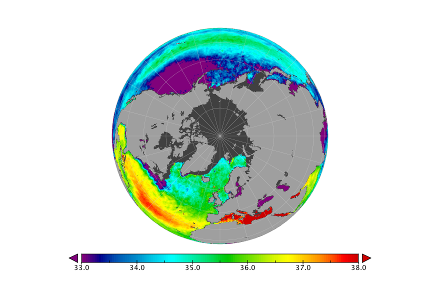 Sea surface salinity, February 2019