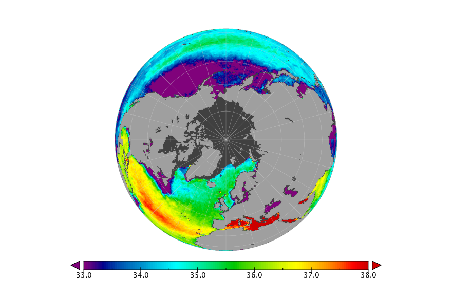 Sea surface salinity, May 2019