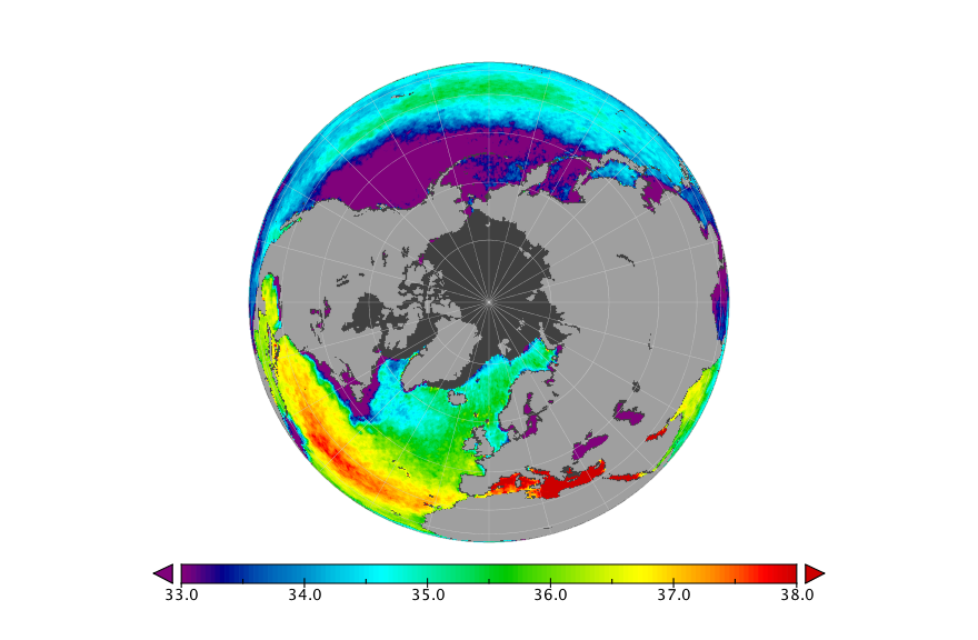 Sea surface salinity, June 2019