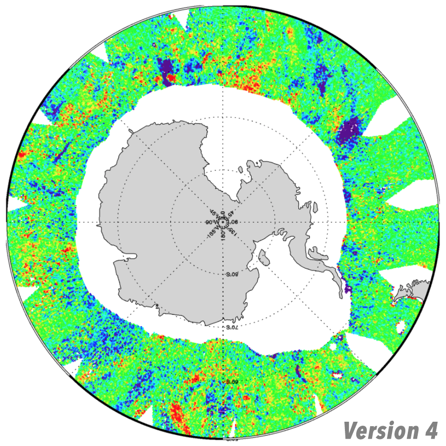 Coverage in the Antarctic for RSS SMAP salinity, V4