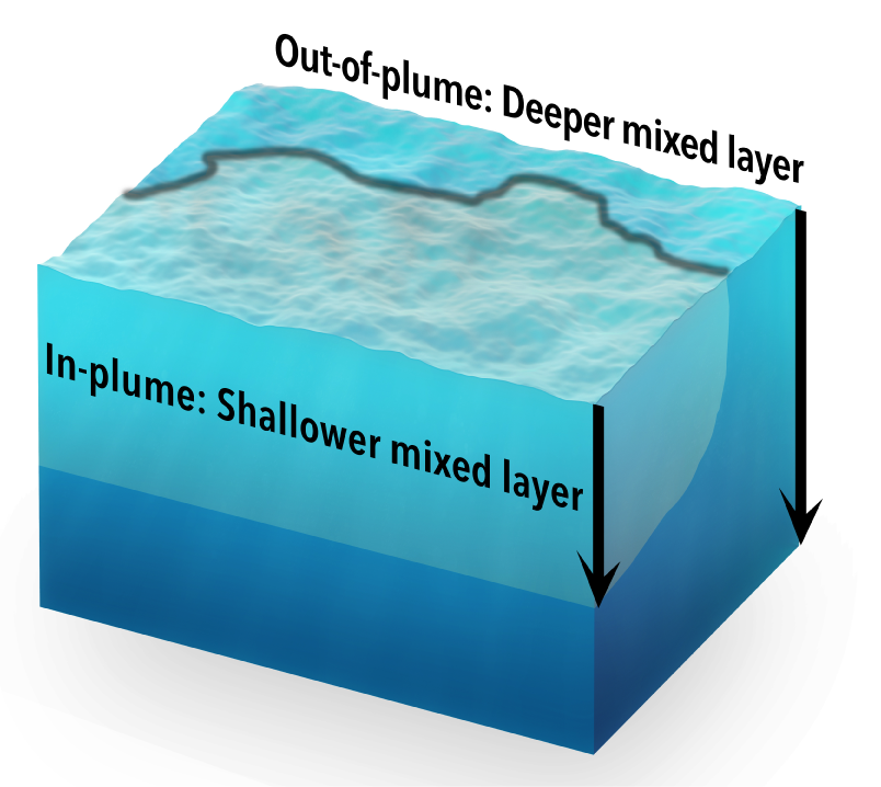 The depth of surface mixing – shown approximately in this diagram – differs between the plume and the surrounding ocean.