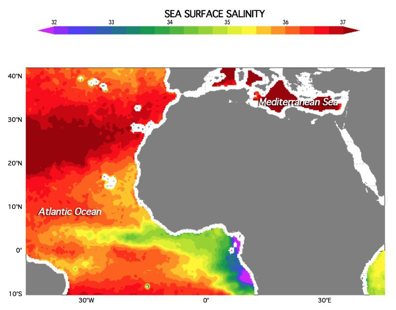Sea surface salinity off the coast of Africa